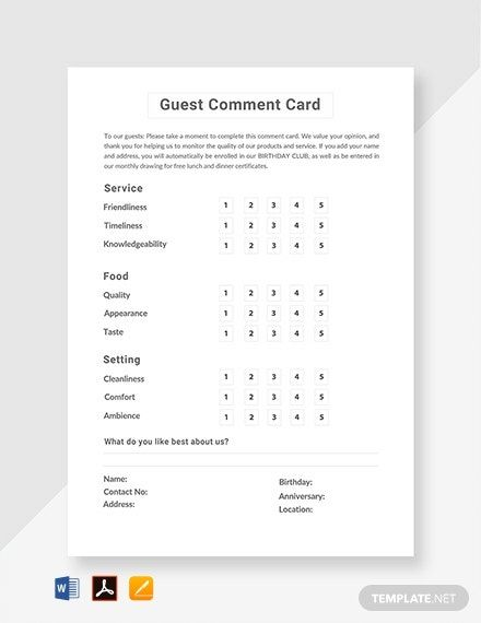 Free Guest Comment Card Template Word Doc Psd Indesign Apple Mac Pages Publisher Illustrator In 2020 Free Business Card Templates Card Templates Free Card Template