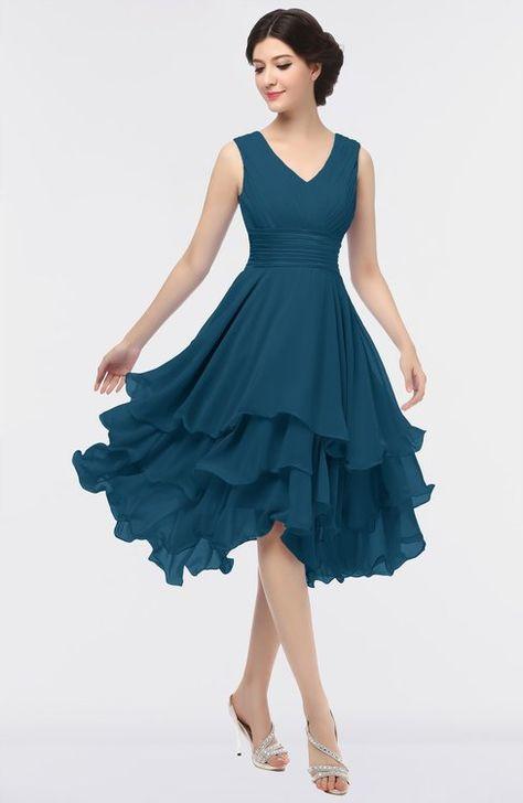 ef1db679a9e7 Elegant V-neck Sleeveless Zip up Ruching Bridesmaid Dresses