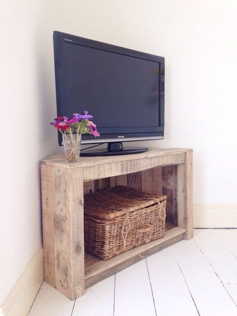 **Made to order**  Handmade from 100% reclaimed and recycled timber, this piece is designed to make use of corner space as storage, a tv stand