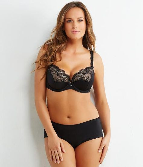 334414bfd9b Curvy Couture Tulip Lace Balconette Bra 1017. Shown in Core Color Black..  This seductive push up balconette underwire bra features beautiful lace  overlay on ...