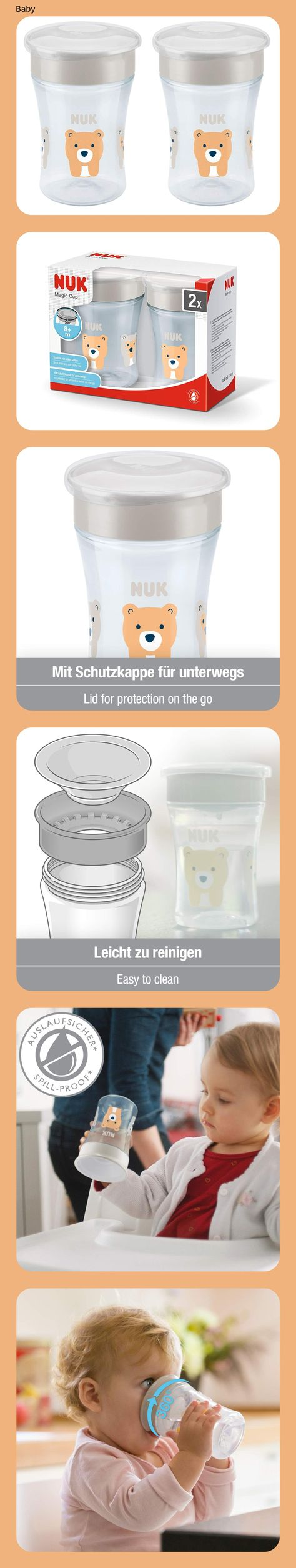 NUK Magic Cup Trinklernbecher 360° Trinkrand 230ml auslaufsicher BPA-frei