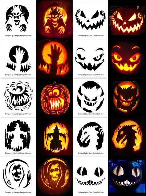 pumpkin template designs  6+ Free Printable Halloween Pumpkin Carving Stencils ...