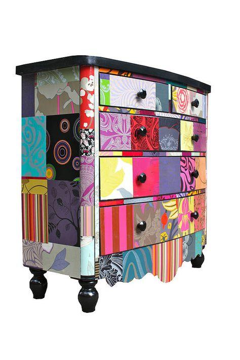 Patchwork chest of drawers...  Great fun! For black porcelain door knobs click below: http://www.priorsrec.co.uk/black-victorian-porcelain-cupboard-knob-/p-3-15-90-460