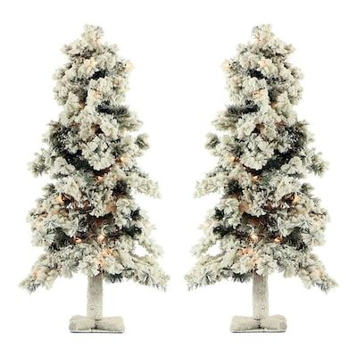 Fraser Hill Farm 2 Ft Pine Pre Lit Traditional White Artificial Christmas Tree With 35 Multi Function White Clear Incandescent Lights 2 Set Lowes Com White Artificial Christmas Tree Incandescent Lights Artificial Christmas Tree