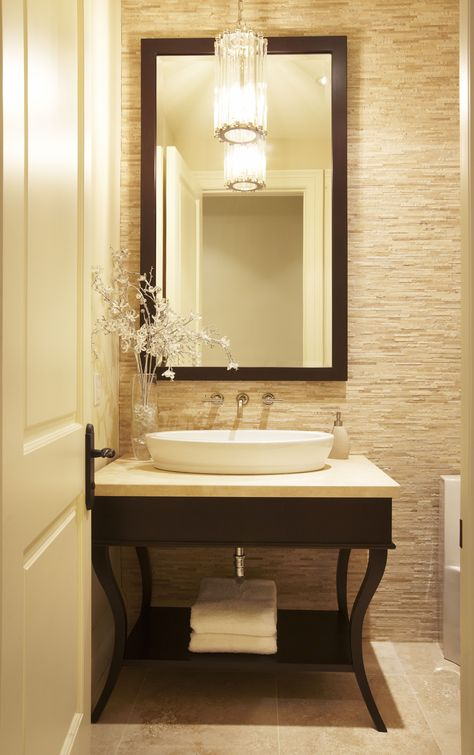 """A transitional style powder room by """"Parkyn Design""""  www.parkyndesign.com"""