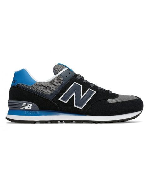 61aa999d29 Venta barata New Balance Hombre 574 Core Plus Negras with Azules and Grises  N12B105
