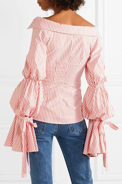 da81eca4b0fb1 Caroline Constas - Margaret Off-the-shoulder Striped Cotton-poplin Shirt -  Papaya