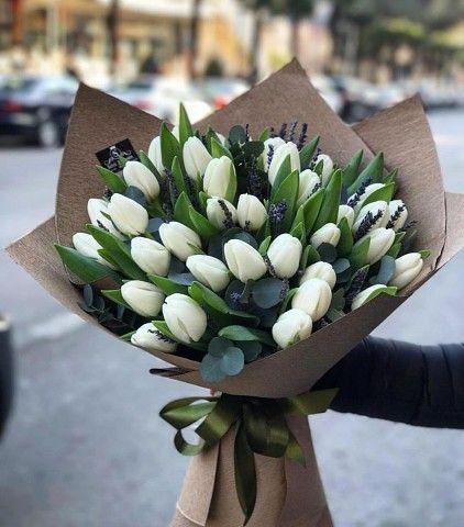 توليب أبيض Flowers Bouquet Boquette Flowers Beautiful Bouquet Of Flowers