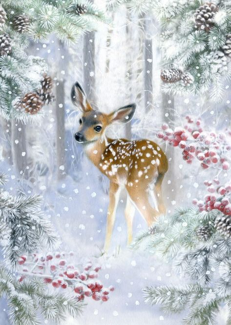Leading Illustration & Publishing Agency based in London, New York & Marbella. Christmas Artwork, Christmas Paintings, Christmas Wallpaper, Christmas Crafts, Xmas, Christmas Scenes, Christmas Animals, Christmas Pictures, Vintage Christmas Cards