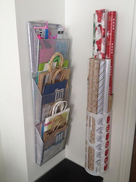The gift bag organization is genius!  Organized Wrapping Station | Gift bags, Tissue, Wrapping Paper @ Ribbon. DIY home storage organization.