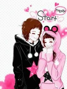 Korean Anime Couple In Hood