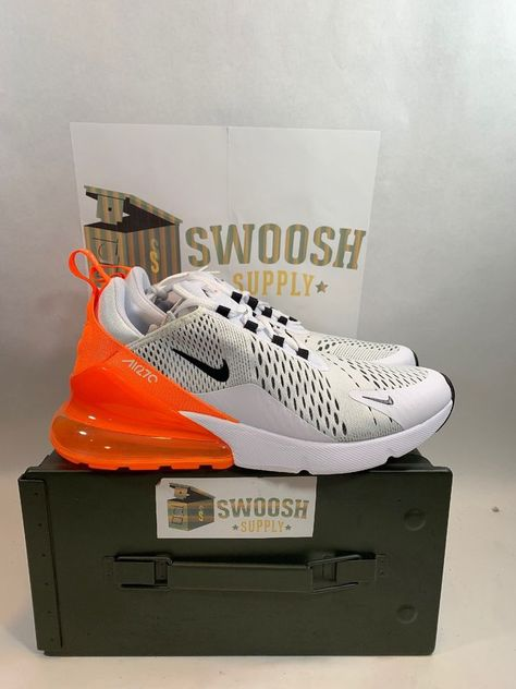Nike Air Max 270 Just Do It Womens AH6789-104 White Black Orange Shoes Size  10.5  Nike  RunningCrossTraining 41a0807dc