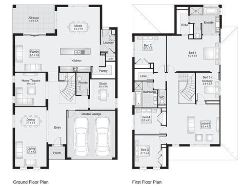 Sherwood 42 Floor Plan 386 30sqm 12 20m Width 19 20m Depth Clarendon Homes Floor Double Storey House Plans House Construction Plan Family House Plans