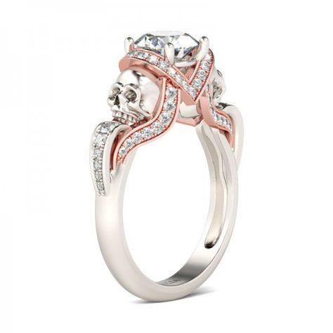 Jeulia Two Tone Round Cut Created White Sapphire Skull Ring