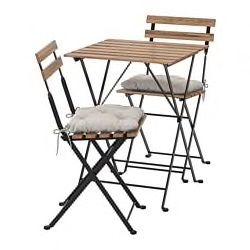 Tarno Tisch 2 Stuhle Aussen Schwarz Graubraun Lasiert Schwarz