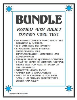 Romeo and Juliet Common Core Reading Quiz BUNDLE Acts 1-5