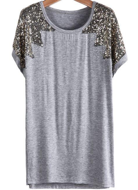Grey Short Sleeve Sequined Modal T-Shirt EUR€13.82€ http://www.sheinside.com/Grey-Short-Sleeve-Sequined-Modal-T-Shirt-p-169525-cat-1738.html?ref=cj