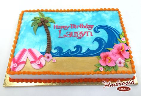 Brilliant Piped Beach Scene With Flip Flops The Ambrosia Bakery Cake Funny Birthday Cards Online Elaedamsfinfo
