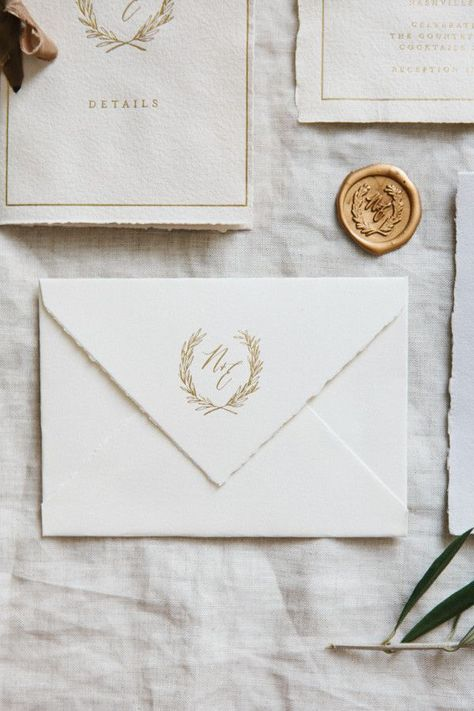 elegant monogram on envelope flap