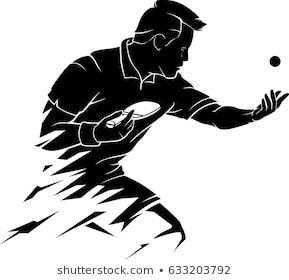 Abstract Table Tennis Player Serve Desenhos Esportes Vinhetas Tatuagens Preto E Cinza