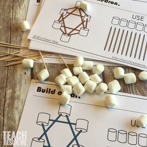 Marshmallow & Toothpick Geometry Cards
