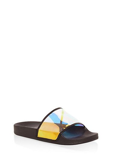 17126fc40 Holographic Clear Band Slides in 2019 | Shoes | Holographic, Holiday  outfits, Band