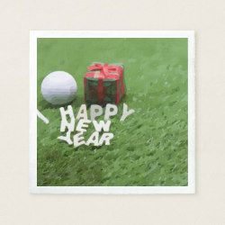 happy new year gift and golf ball on green napkin zazzle