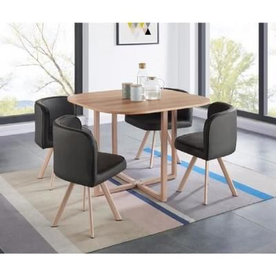 Lund Ensemble Table A Manger 4 Personnes Style Industriel Decor Chene 4 Chaises Simili Noir L 100 X L 100 Cm Decor De Table A Manger Salle A Manger 4 Personnes Table A Manger