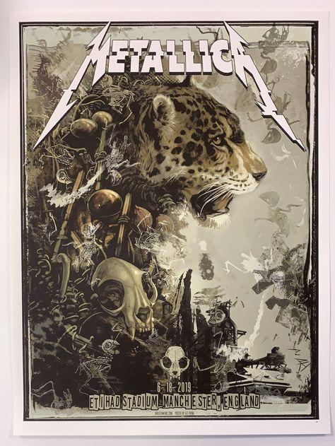 Metallica - 2019 AJ Frena poster Manchester, England Etihad Stadium
