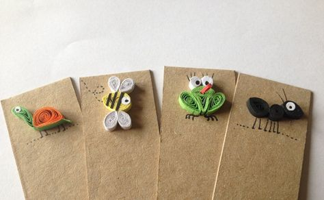 Quilled Bookmarks set of 4, Animals, Ant, Bee, Tortoise, Frog, Paper, Cardboard, Natural Brown, Free Post Worldwide