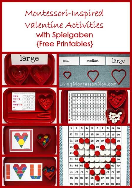 Links to free valentine printables + ideas for using the free printables to create Montessori-inspired valentine activities that work well with Spielgaben educational toys