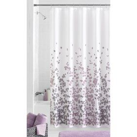 Purple Gray Pink And Taupe Fabric Shower Curtain With Printed