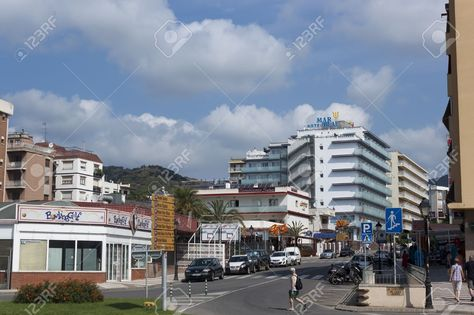 CALELLA, SPAIN - JULY 19, 2013 Streets Of Calella On July 19,.. Stock Photo, Picture And Royalty Free Image. Pic 21487219.