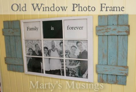 An old window and fence boards make this terrific Family Photo Frame from Marty's Musings