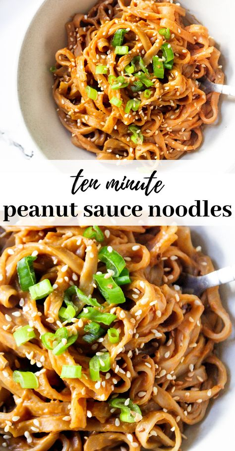 Sweet and spicy peanut sauce rice noodles ready in less than 10 minutes making it perfect for a quick dinner or lunch recipe. Vegan, gluten free and so healthy and yummy! Peanut Sauce Noodles, Spicy Peanut Sauce, Peanut Sauce Recipes, Noodle Sauce Recipe, Sauce For Rice, Peanut Butter, Tasty Vegetarian Recipes, Healthy Recipes, Vegetarian Cooking