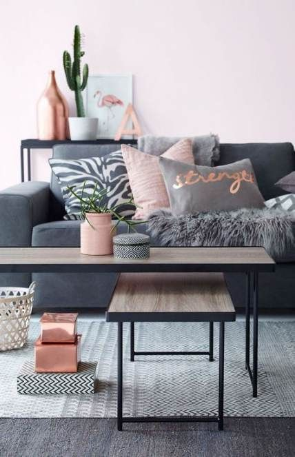 Trendy Bedroom White Grey Copper Blush Pink 55 Ideas Living Room Grey Trendy Living Rooms Pink Living Room