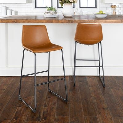 Whiskey Brown Faux Leather Bar Stools Set Of 2 Leather Bar