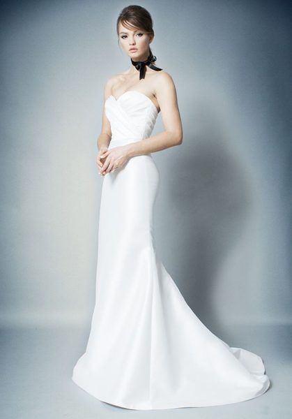 Simple Strapless Ruched Bodice Fit And Flare Wedding Dress By Romona New York Imag Ruched Wedding Dress Fit And Flare Wedding Dress Wedding Dresses Kleinfeld