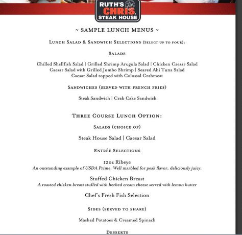 Ruth Chris Sample Menu  Hcm Menus    Ruth Chris