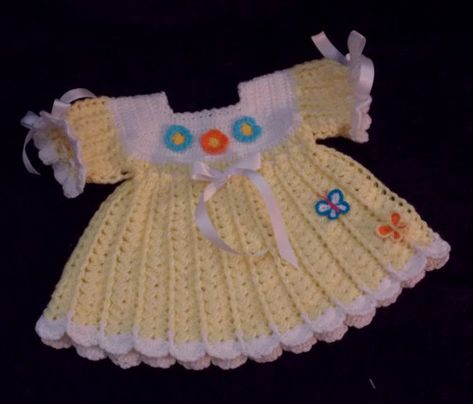Crochet Yellow and White Baby Dress  3 to 6 by sweetpeacollections, $25.00