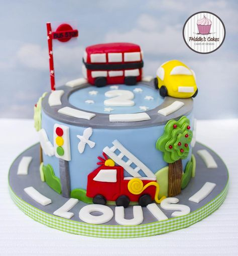 Pleasing Fire Engine Car And Bus Birthday Cake With Images Cars Funny Birthday Cards Online Hendilapandamsfinfo