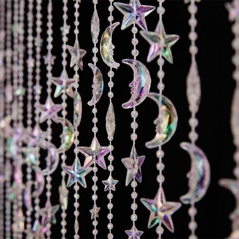 DecoStar™ Crystal Iridescent Stars and Moon Curtain Make your event sparkle with this acrylic crystal iridescent curtain. Size: 3 ft wide X 6 ft long Strands are mounted on a plastic rod . Aesthetic Room Decor, Witch Aesthetic, My New Room, My Room, Bedroom Inspo, Bedroom Decor, Beaded Curtains, Room Goals, Stars And Moon