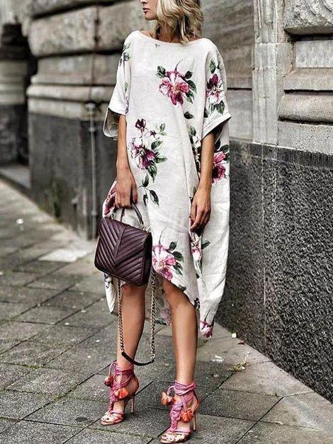 Floral Printed Loose Midi Dress – Jartini fashion dress simple dresses wedding dress styles dress beautiful #dresses #falldresses #outfitsdresses #fashiondress #simpledresses #partydressesnight