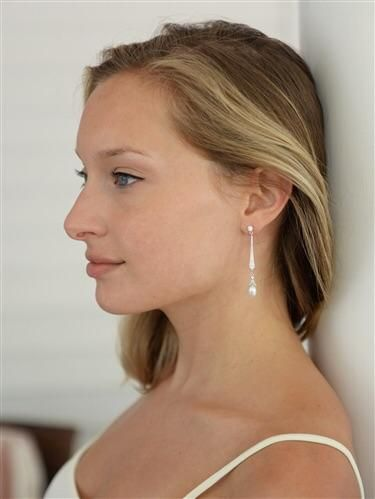 Cubic Zirconia Dangle Earrings with Freshwater Pearl Drops for Brides or Weddings