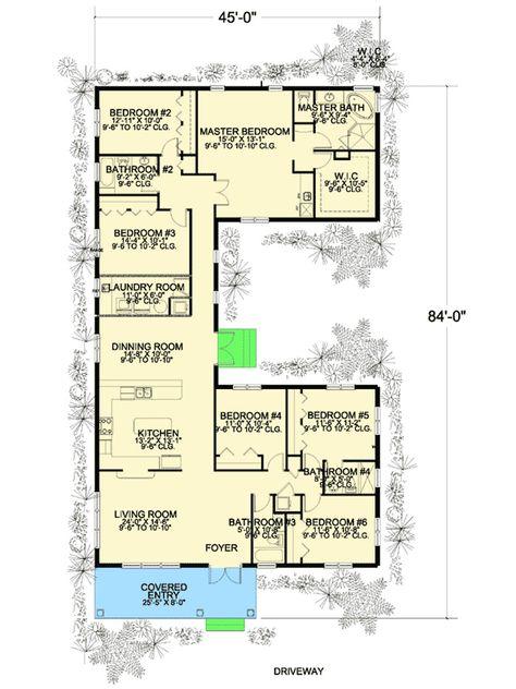 plan 32221aa 6 bedroom u shaped house plan