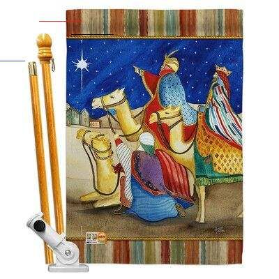 Breeze Decor Three Kings Nativity Impressions Decorative 2 Sided Polyester 40 X 28 In Flag Set