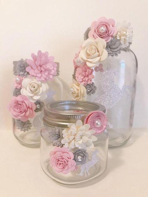Paper Flower Jars Sparkle Unicorn Flowers In Jars Paper
