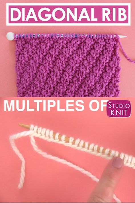 Looks like cables and perfect for beginning knitters. This simple Diagonal Rib knit stitch pattern is achieved with just an easy repeat of knits and purls. Get Free Knitting Pattern, Chart, Photos, and Video Tutorial by Studio Knit. #StudioKnit #knittingvideo #knitstitchpattern #knitting #freeknittingpattern