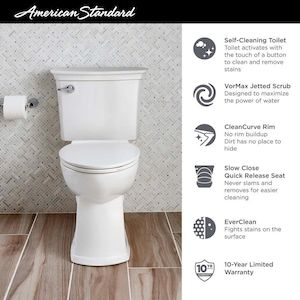 American Standard Acticlean White Watersense Elongated Chair Height 2 Piece Vitreous China Toilet 12 In Rough In Size With Slow Close Ada Compliant In 2020 American Standard Water Sense Toilet Installation