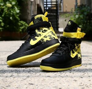 Nike AF1 Air Force One High Dynamic Yellow Black Men's